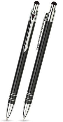Schwarz glänzender BOND TOUCH-PEN -Metallkugelschreiber inkl. gratis Laser-Gravur mit Namen, Text od