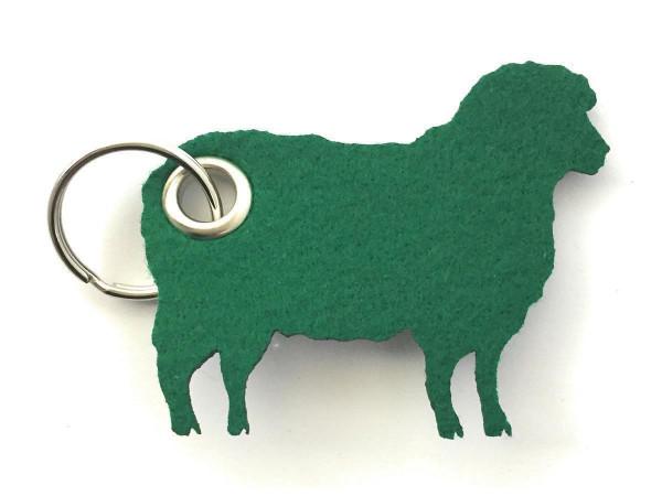 Schaf / Lamm / Tier - Filz-Schlüsselanhänger - Farbe: waldgrün - optional mit Gravur / Aufdruck
