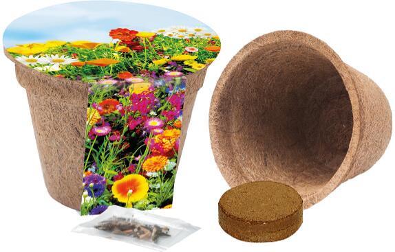 Kokos-Pflanztopf, bunte Blumenmischung, 1-4 c Digitaldruck inklusive