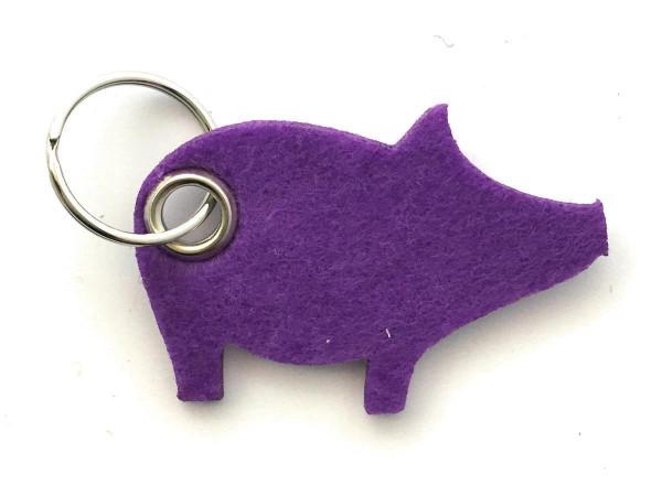 Glücks-Schwein - Filz-Schlüsselanhänger - Farbe: lila / flieder - optional mit Gravur / Aufdruck