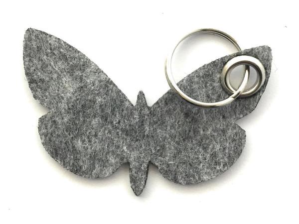 Schmetterling - Filz-Schlüsselanhänger - Farbe: grau meliert - optional mit Gravur / Aufdruck