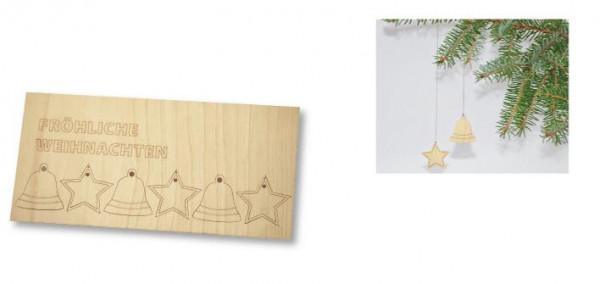 Weihnachtskarte Holzanhänger, ohne Kuvert - Werbeaufdruck: Laserngravur