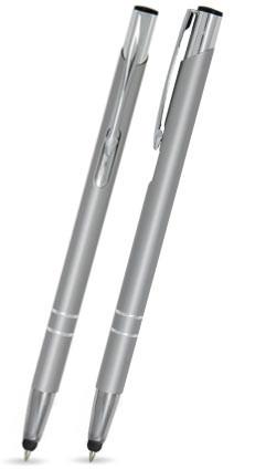 Silber matter LIBO SLIM TOUCH-PEN -Metallkugelschreiber inkl. gratis Laser-Gravur mit Namen, Text od
