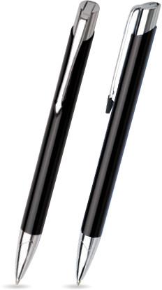 Schwarz glänzender VIC -Metallkugelschreiber inkl. gratis Laser-Gravur mit Namen, Text oder Logo