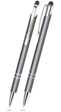 Grauer BELLO TOUCH-PEN -Metallkugelschreiber inkl. gratis Laser-Gravur mit Namen, Text oder Logo