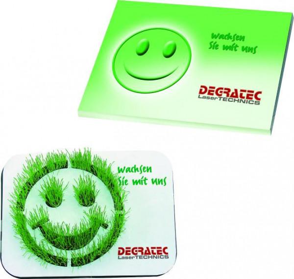 Wachsendes Logo Smiley, Zimmerrasen, 1-4 c Digitaldruck inklusive - Werbeaufdruck: Digitaldruck