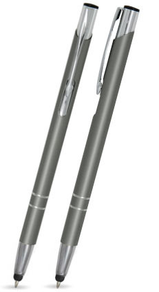 Grau matter LIBO SLIM TOUCH-PEN -Metallkugelschreiber inkl. gratis Laser-Gravur mit Namen, Text oder