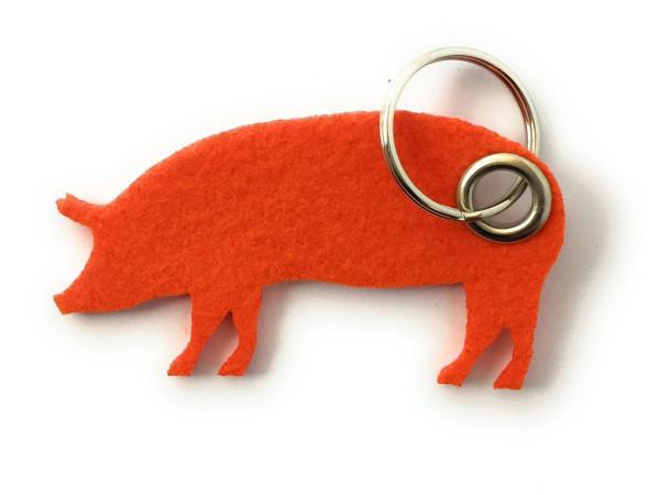 Schwein / Hausschwein - Filz-Schlüsselanhänger - Farbe: orange - optional mit Gravur / Aufdruck