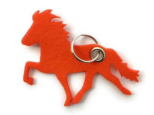 Island -Pferd / Reiten - Filz-Schlüsselanhänger - Farbe: orange - optional mit Gravur / Aufdruck