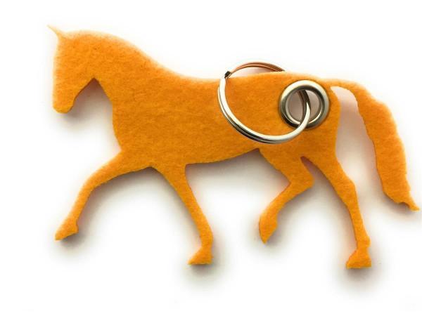 Pferd / Dressur / Reiten /laufend - Filz-Schlüsselanhänger - Farbe: gelb - optional mit Gravur / Auf