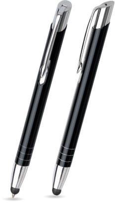 Schwarz glänzender MOOI TOUCH-PEN -Metallkugelschreiber inkl. gratis Laser-Gravur mit Namen, Text od