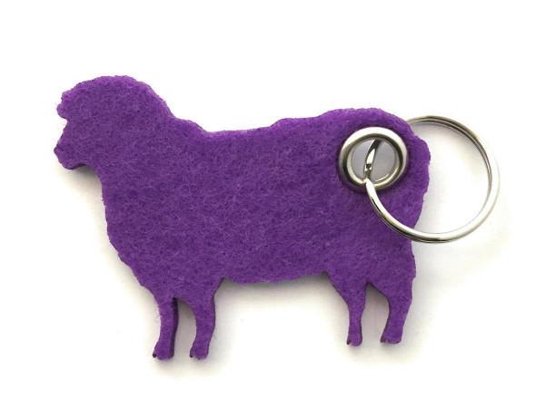 Schaf / Lamm / Tier - Filz-Schlüsselanhänger - Farbe: lila / flieder - optional mit Gravur / Aufdruc