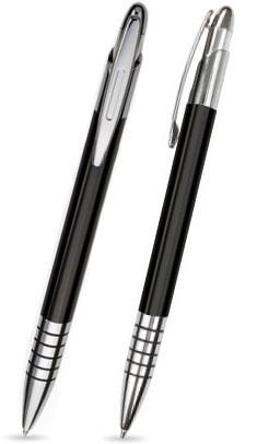 Schwarz glänzender ZEN -Metallkugelschreiber inkl. gratis Laser-Gravur mit Namen, Text oder Logo