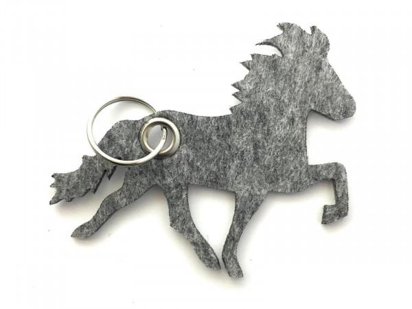 Island -Pferd / Reiten - Filz-Schlüsselanhänger - Farbe: grau meliert - optional mit Gravur / Aufdru