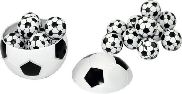 Fußball mit 11 Schoko-Fußbällen - Werbeaufdruck: Tampondruck