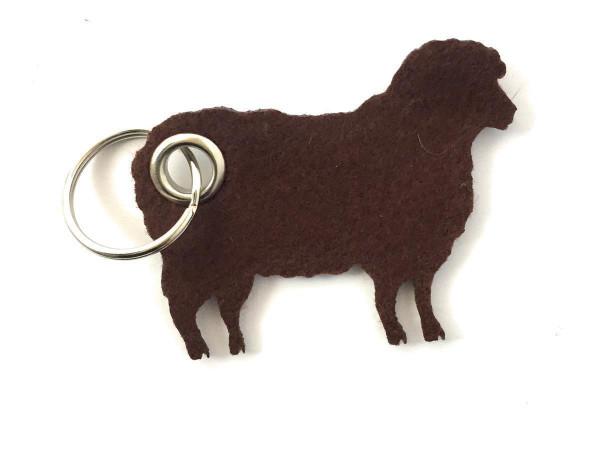 Schaf / Lamm / Tier - Filz-Schlüsselanhänger - Farbe: braun - optional mit Gravur / Aufdruck