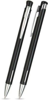Schwarz glänzender JOY -Metallkugelschreiber inkl. gratis Laser-Gravur mit Namen, Text oder Logo