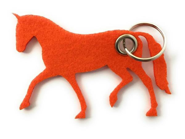 Pferd / Dressur / Reiten /laufend - Filz-Schlüsselanhänger - Farbe: orange - optional mit Gravur / A