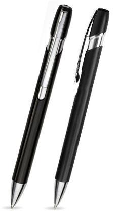 Schwarz glänzender GENIUS - Metallkugelschreiber inkl. gratis Laser-Gravur mit Namen, Text oder Logo