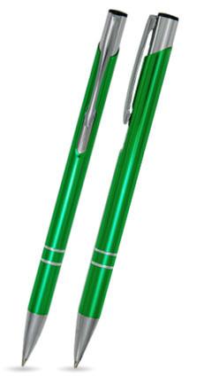 Hellgrün glänzender LIBO SLIM - Metallkugelschreiber inkl. gratis Laser-Gravur mit Namen, Text oder