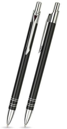 Schwarz glänzender LOLA - Metallkugelschreiber inkl. gratis Laser-Gravur mit Namen, Text oder Logo