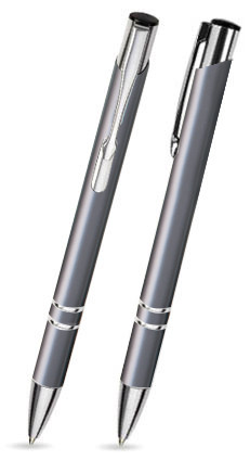 Grauer LIBO -Metallkugelschreiber inkl. gratis Laser-Gravur mit Namen, Text oder Logo