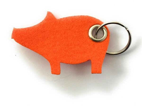 Glücks-Schwein - Filz-Schlüsselanhänger - Farbe: orange - optional mit Gravur / Aufdruck