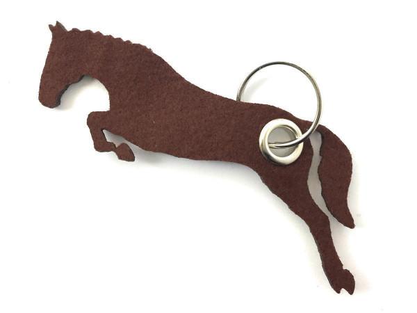 Spring - Pferd - Filz-Schlüsselanhänger - Farbe: braun - optional mit Gravur / Aufdruck