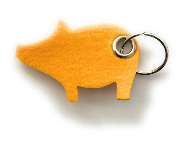 Glücks-Schwein - Filz-Schlüsselanhänger - Farbe: gelb - optional mit Gravur / Aufdruck