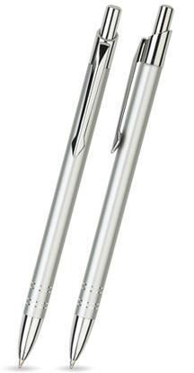 Silber glänzender LOLA - Metallkugelschreiber inkl. gratis Laser-Gravur mit Namen, Text oder Logo