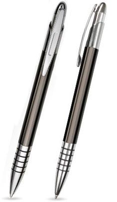 Anthrazit glänzender ZEN -Metallkugelschreiber inkl. gratis Laser-Gravur mit Namen, Text oder Logo