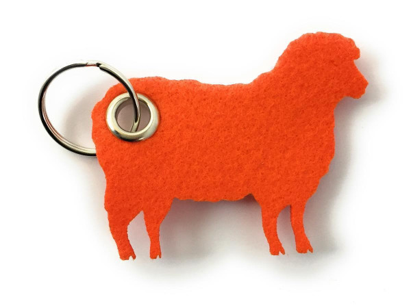 Schaf / Lamm / Tier - Filz-Schlüsselanhänger - Farbe: orange - optional mit Gravur / Aufdruck