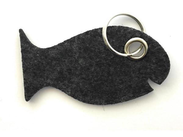 Fisch / Tier - Filz-Schlüsselanhänger - Farbe: schwarz meliert - optional mit Gravur / Aufdruck