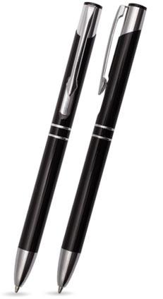 Schwarz glänzender DUO - Metallkugelschreiber inkl. gratis Laser-Gravur mit Namen, Text oder Logo