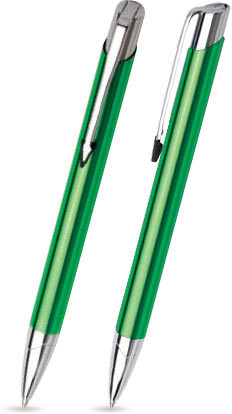 Hellgrün glänzender VIC -Metallkugelschreiber inkl. gratis Laser-Gravur mit Namen, Text oder Logo