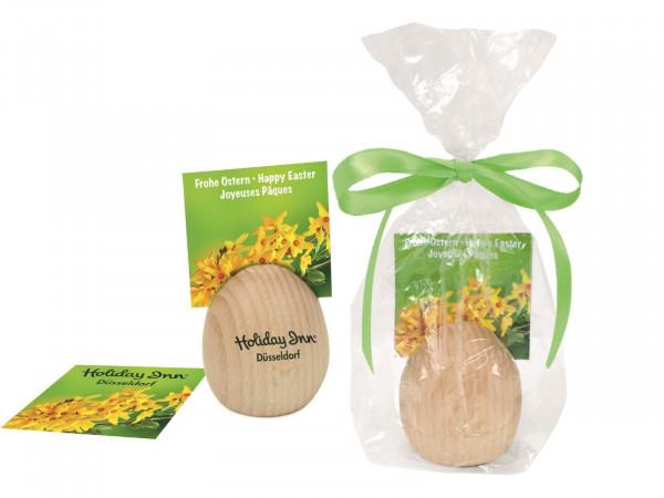 Holz-Kartenhalter Ei, 1-4 c Digitaldruck inklusive