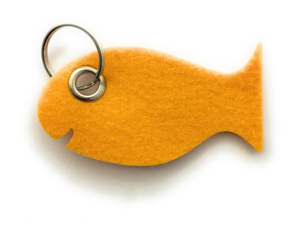Fisch / Tier - Filz-Schlüsselanhänger - Farbe: gelb - optional mit Gravur / Aufdruck