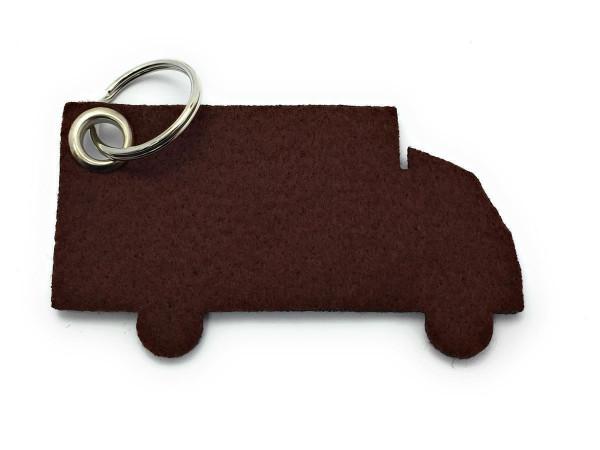 LKW - Filz-Schlüsselanhänger - Farbe: braun - optional mit Gravur / Aufdruck
