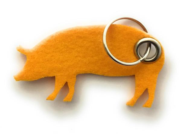 Schwein / Hausschwein - Filz-Schlüsselanhänger - Farbe: gelb - optional mit Gravur / Aufdruck