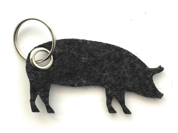 Schwein / Hausschwein - Filz-Schlüsselanhänger - Farbe: schwarz meliert - optional mit Gravur / Aufd