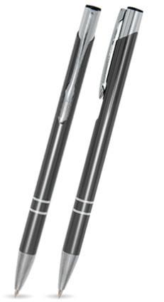 Anthrazit glänzender LIBO SLIM - Metallkugelschreiber inkl. gratis Laser-Gravur mit Namen, Text oder