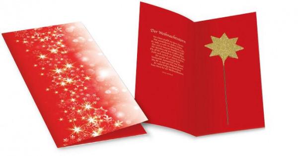 Weihnachtskarte Strahlender Stern, ohne Kuvert, 1-4 c Digitaldruck inklusive