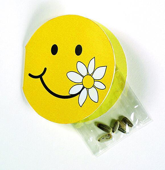 Klappkärtchen Smiley, Zwergsonnenblume, 1-4 c Digitaldruck inklusive
