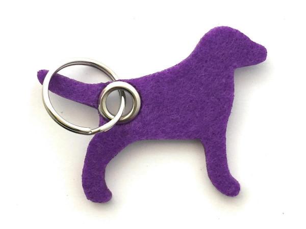 Hund / Tier - Filz-Schlüsselanhänger - Farbe: lila / flieder - optional mit Gravur / Aufdruck