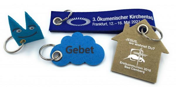 Aktionsset 350 Stück Filz-Schlüsselanhänger Haus mit Aufdruck