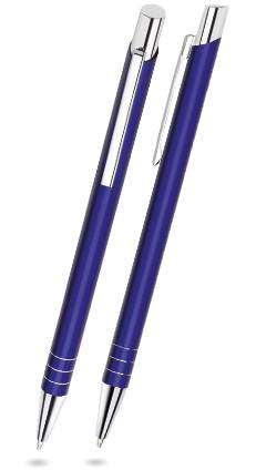 Navy Blau glänzender FIT - Metallkugelschreiber inkl. gratis Laser-Gravur mit Namen, Text oder Logo