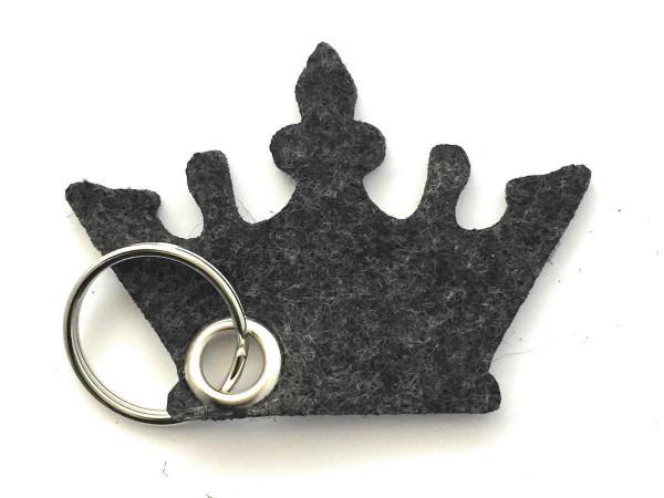 Krone - Filz-Schlüsselanhänger - Farbe: schwarz meliert - optional mit Gravur / Aufdruck