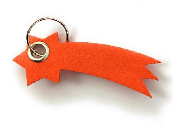 Sternschnuppe - Filz-Schlüsselanhänger - Farbe: orange - optional mit Gravur / Aufdruck